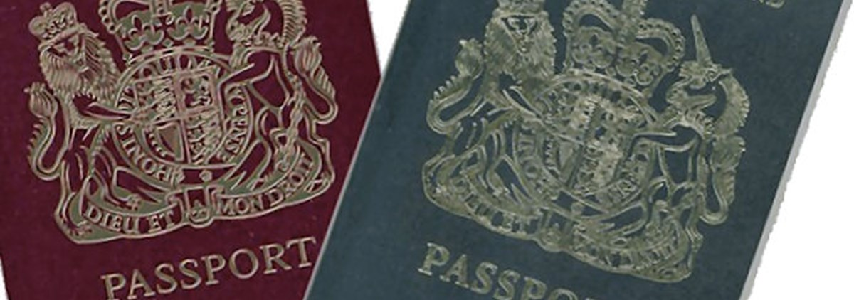UK passports red and blue