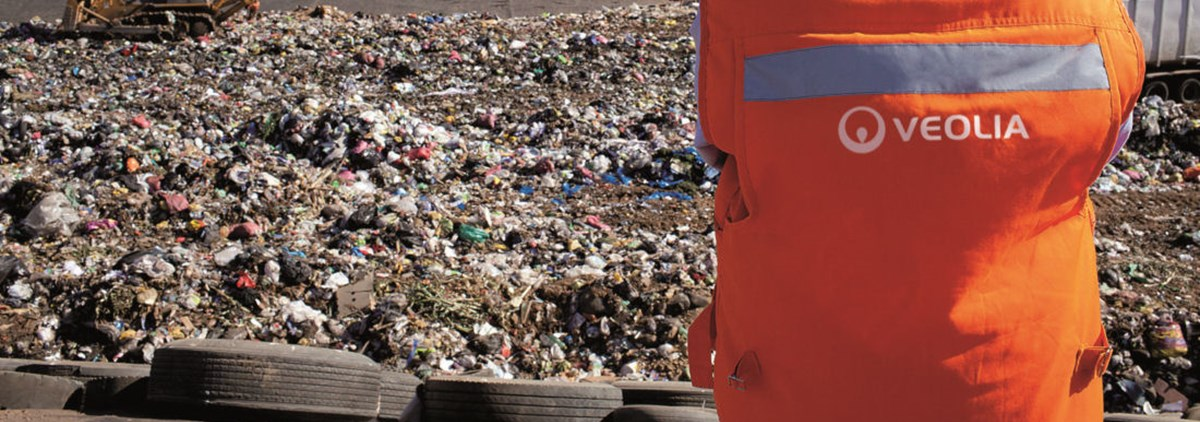 Veolia worker on rubbish tip
