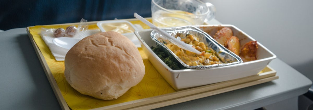 plane food on tray