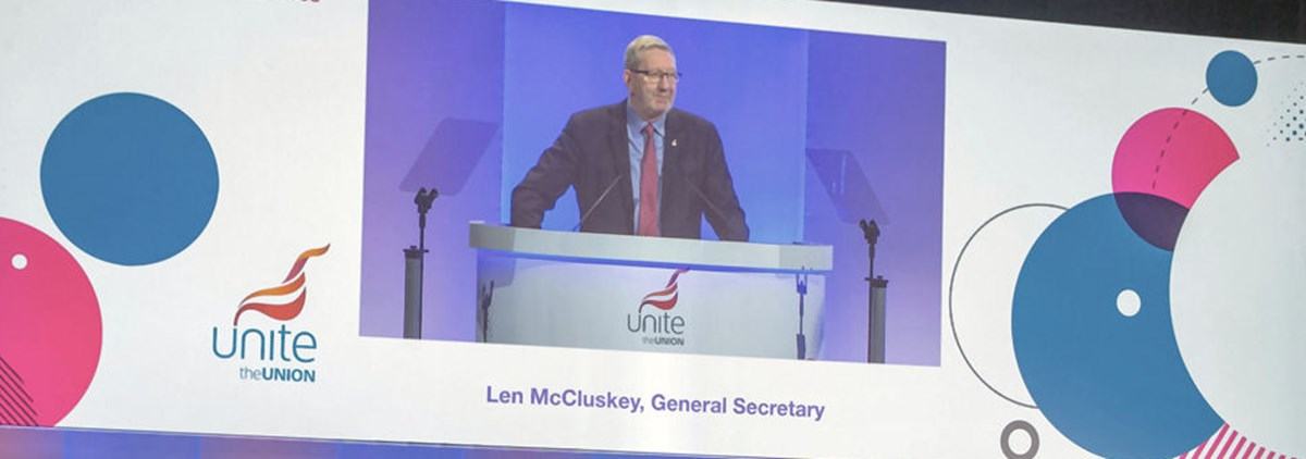 Len McCluskey speaking at rules conference