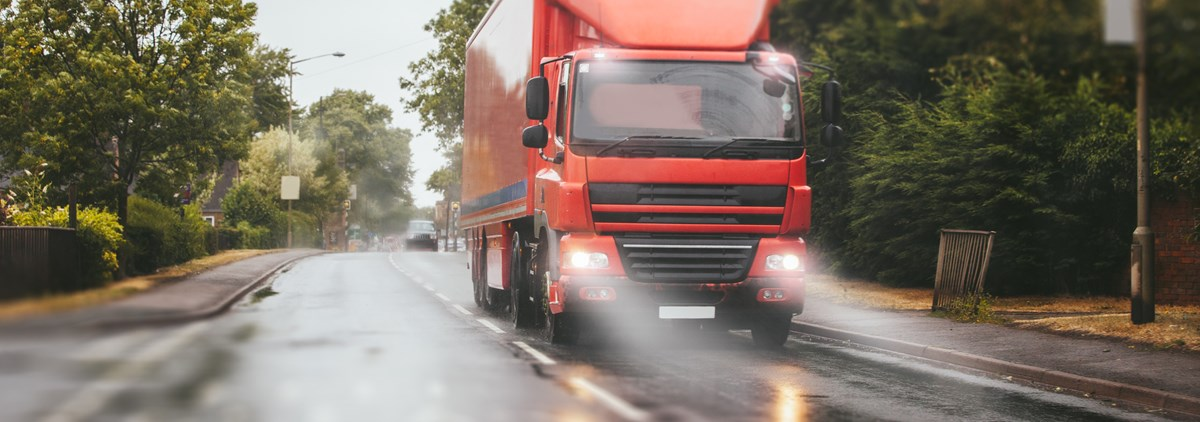 Lorry in rain