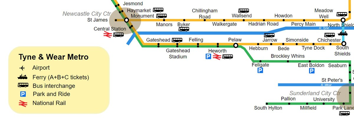 Tyne and Wear Metro map